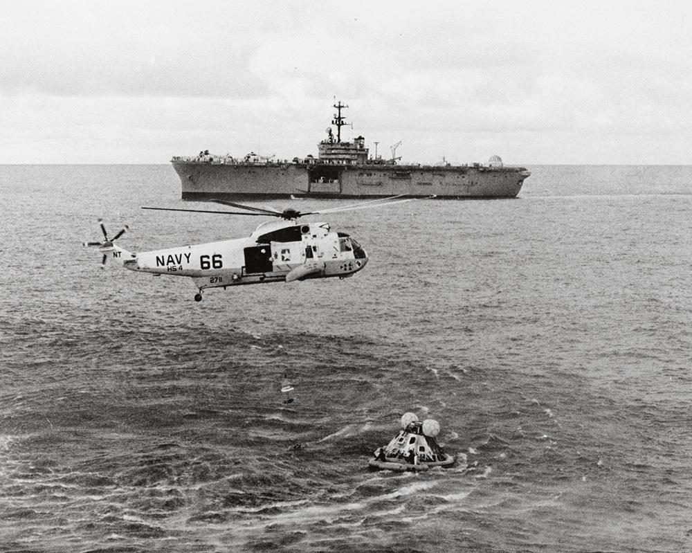 Apollo 13 splashdown in the Pacific