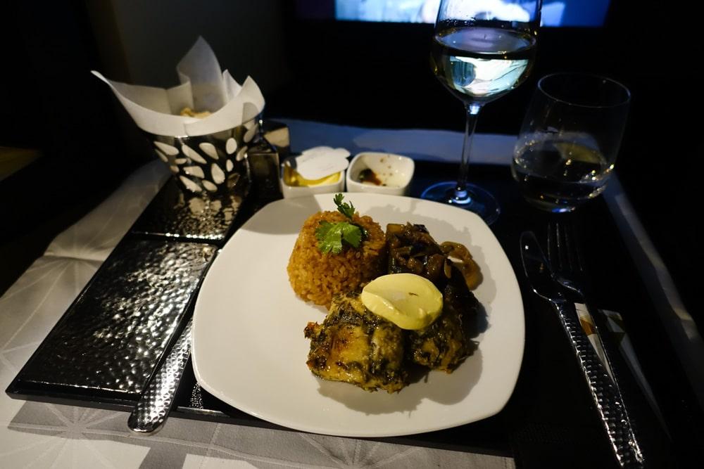 Etihad A380 Business Class Main meal