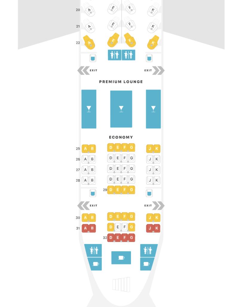 A seat map of Qatar Airways' upper deck economy class cabin.