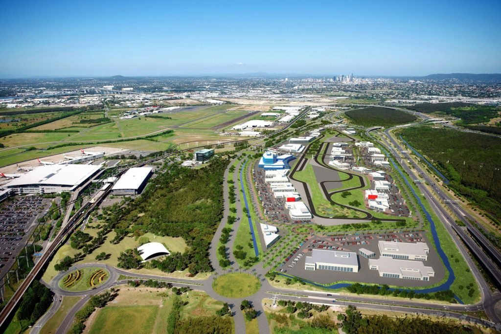 BNE Auto Mall render & airport aerial shot