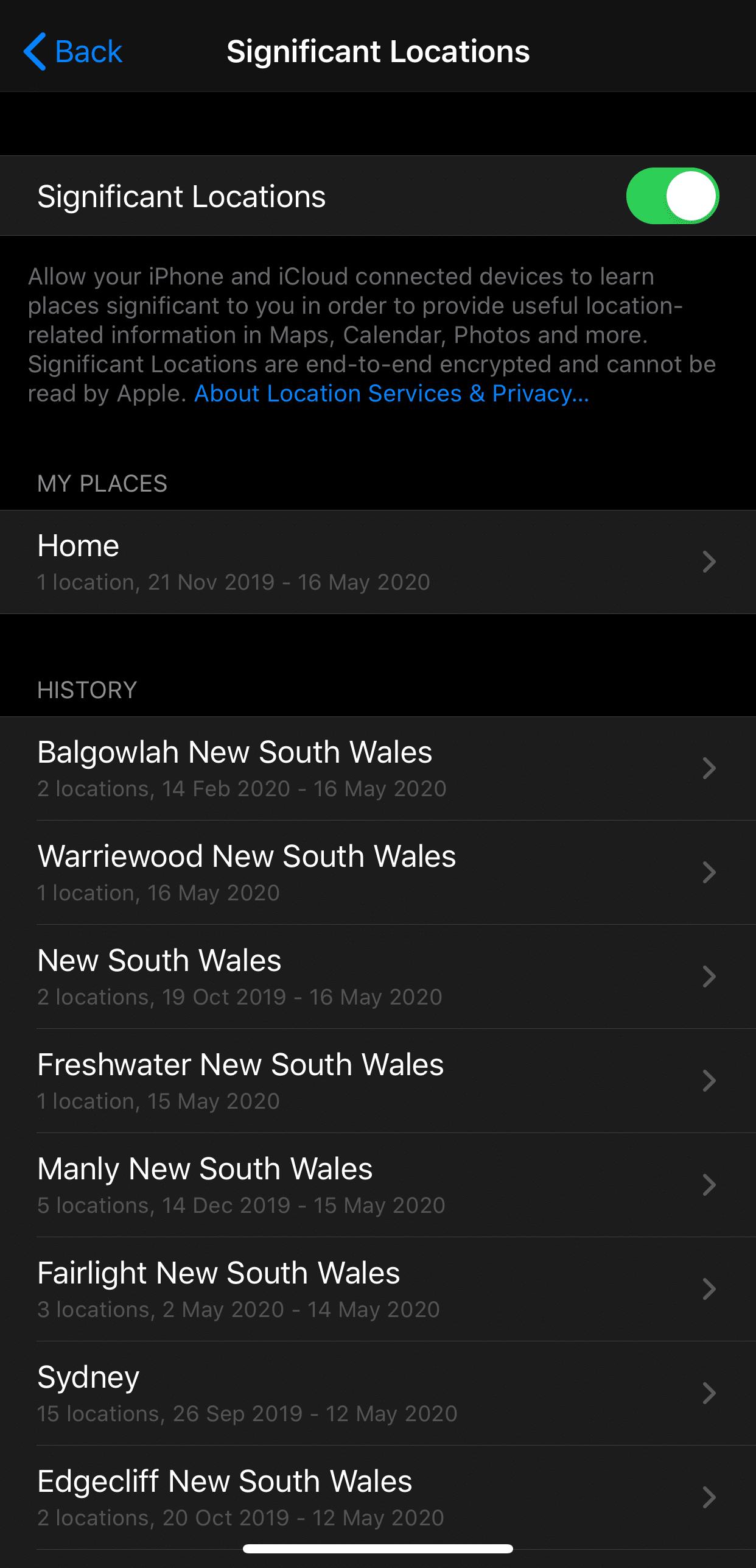 iOS location tracking