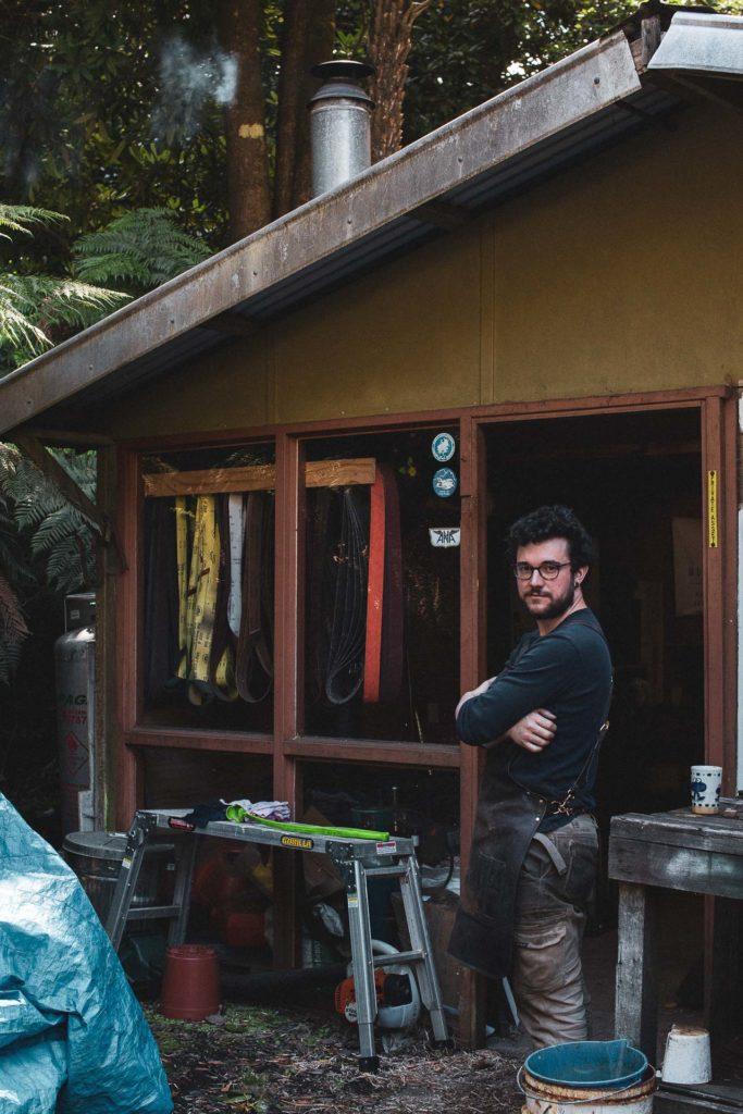 Mathieu Dechamps outside his workshop.
