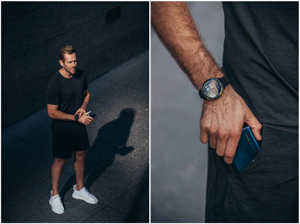 Shaun Birley wars the Huawei GT2 e smartwatch