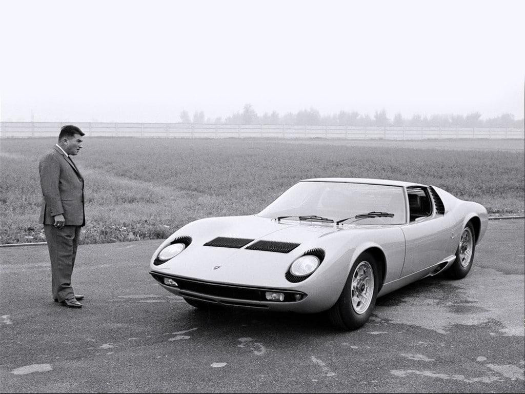 Ferruccio Lamborghini staring at a Miura in 1966