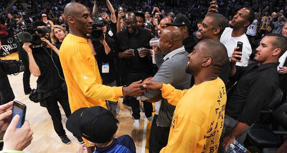 Kanye and Kobe shake hands at Staples Centre