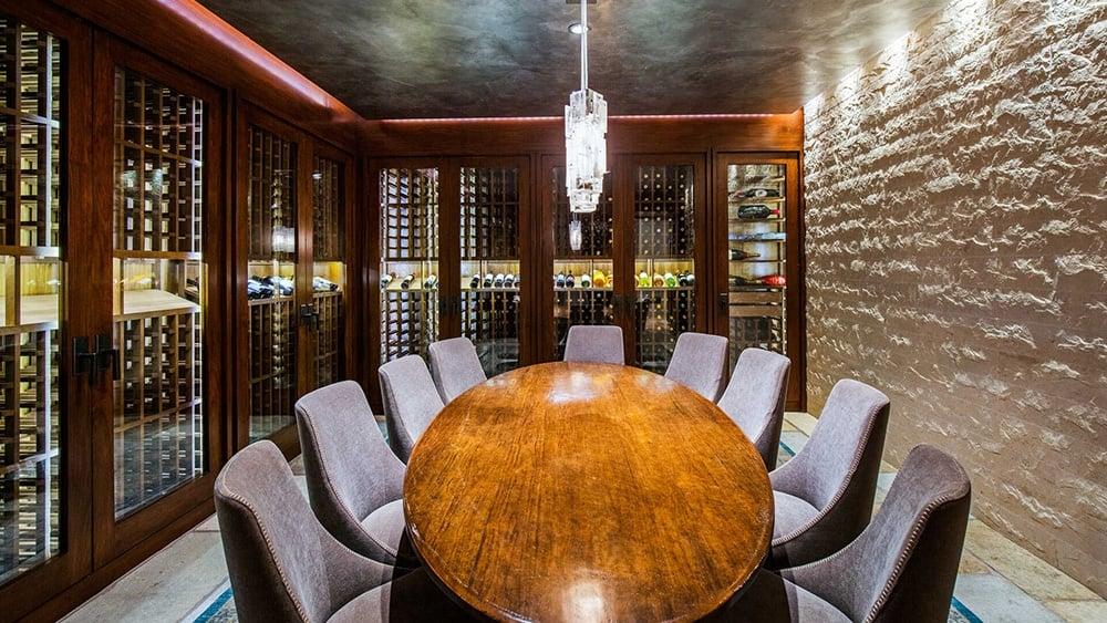 Matt Damon mansion wine room.