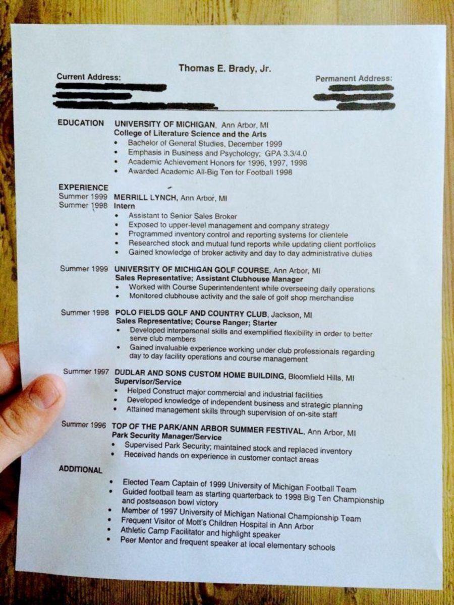 tom brady college resume 1999