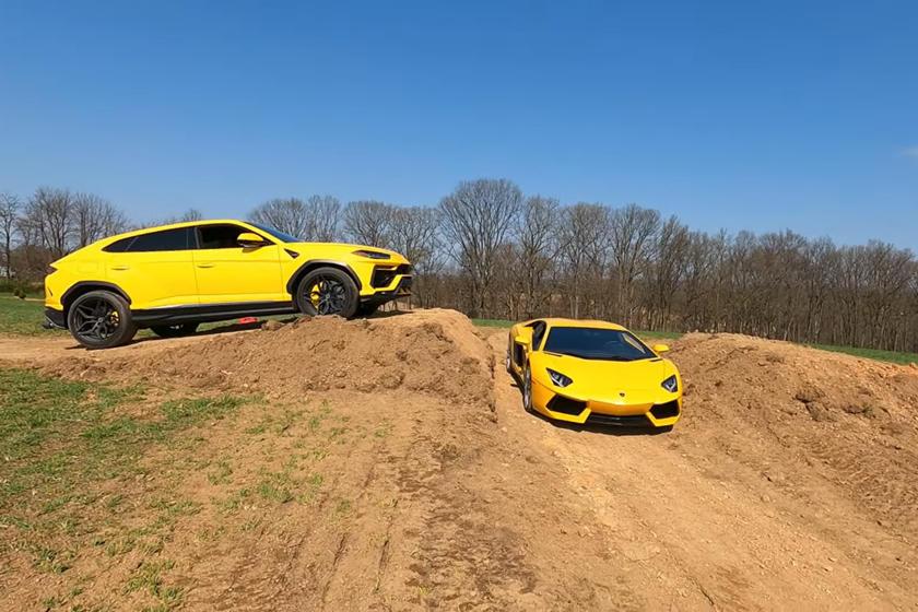 WATCH: Bloke Jumps His Lamborghini Uris Over Wife's Aventador