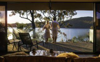 Guests relaxing at Marramarra Lodge at the Hawkesbury River