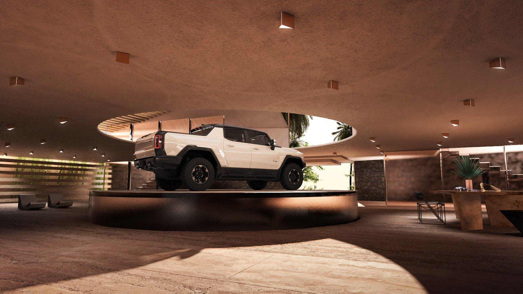 Kelly Wearstler Desert Garage concept hummer ev lebron james