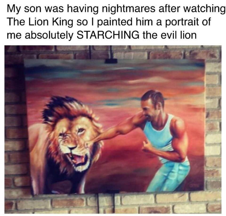 men beat lion fight