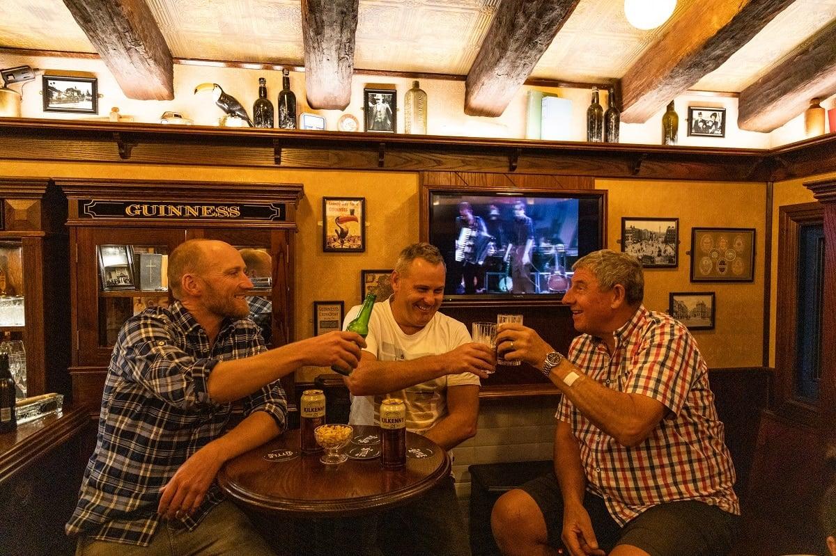 Blokes having a beer in My Little Pub