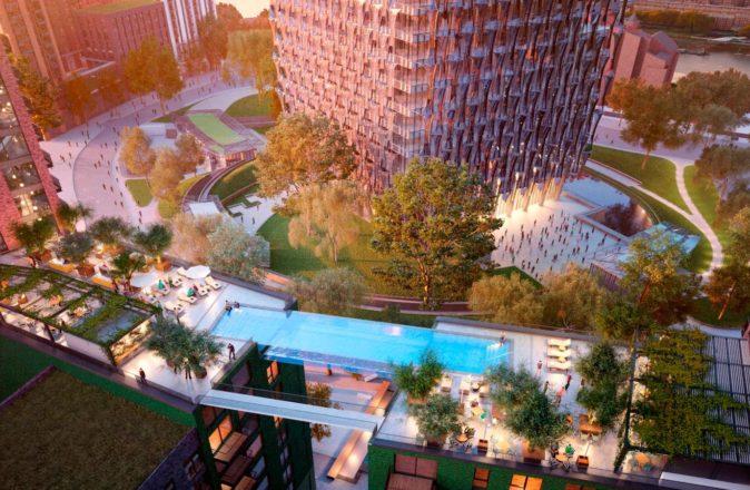 World's First Sky Pool Embassy Gardens London 115 Foot