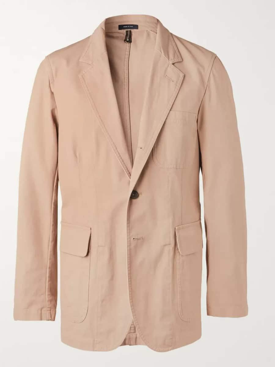 drakes unstructured cotton suit jacket