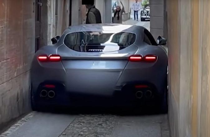 Ferrari Roma Stuck Narrow Italian Street Alley 1
