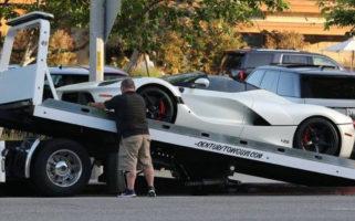 Lewis Hamilton Tow Truck LaFerrari Aperta Los Angeles